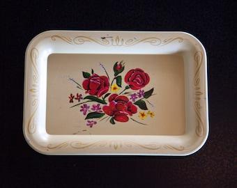 Handprinted Rose Tin Tray