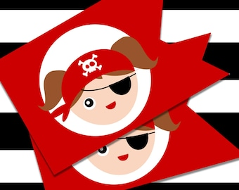 Printable Pirate Birthday Party Flags for Girls