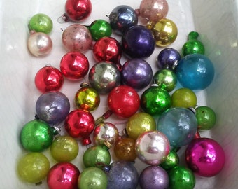 vintage feather tree miniature christmas ornaments 1940s decorations 41 assorted color mercury glass balls speckled chippy shabby bulbs - 1940s Christmas Decorations