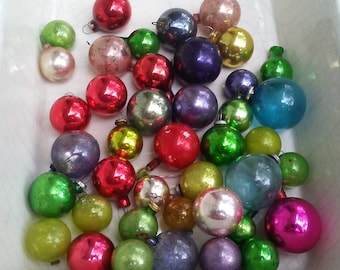 vintage feather tree miniature christmas ornaments 1940s decorations 41 assorted color mercury glass balls speckled chippy shabby bulbs