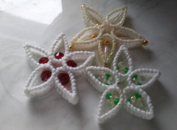 Plastic Canvas Christmas Ornaments.3 Vintage Plastic Canvas Christmas Ornaments Starburst Beaded Retro Decorations 1970 S Star Snowflake Flower