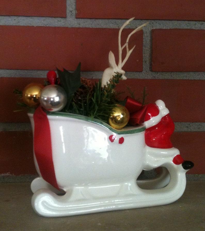 Ceramic Santa sleigh long antler white plastic reindeer embellished vintage kitsch Christmas centerpiece holiday decoration GoatCart