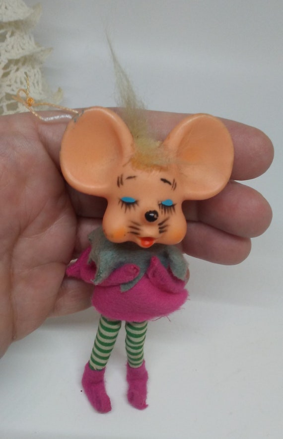 Vintage Christmas Pink Church Mouse Elf Pixie funny mid century striped  green stockings long legs kitsch holiday decoration retro ornament
