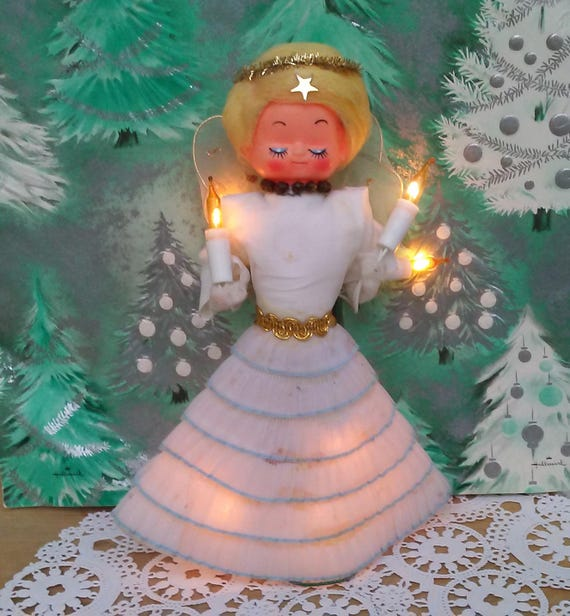 Angel Shaped Christmas Tree.Vintage Lighted Angel Working Christmas Tree Topper Retro Mid Century Holiday Decoration Electric Cone Shaped Goatcart