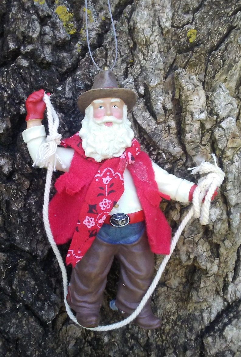 a1be568c3ac Vintage Santa Cowboy Christmas ornament Lasso rope red bandana Western  ranch holiday tree decoration GoatCart
