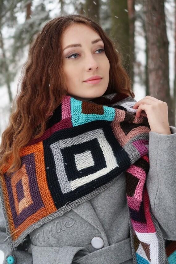 a21dc8013870 Tricoter châle Boho châles châle rose à la main-tricot femme   Etsy