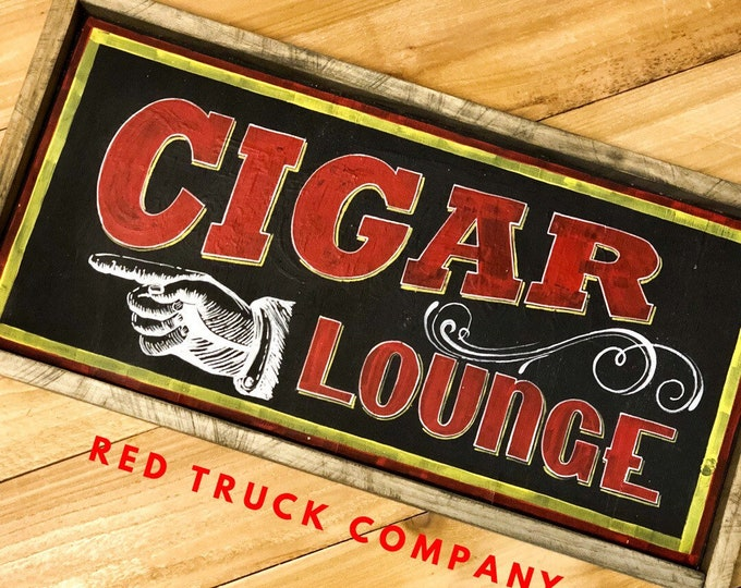 Cigar Lounge Sign. Cigars. Bourbon. Cigar Bar Sign. Bar Decor. Father's Day Gift. Man Cave. Beard. Mancave Decor. Bourbon Gifts. Guy Gifts.