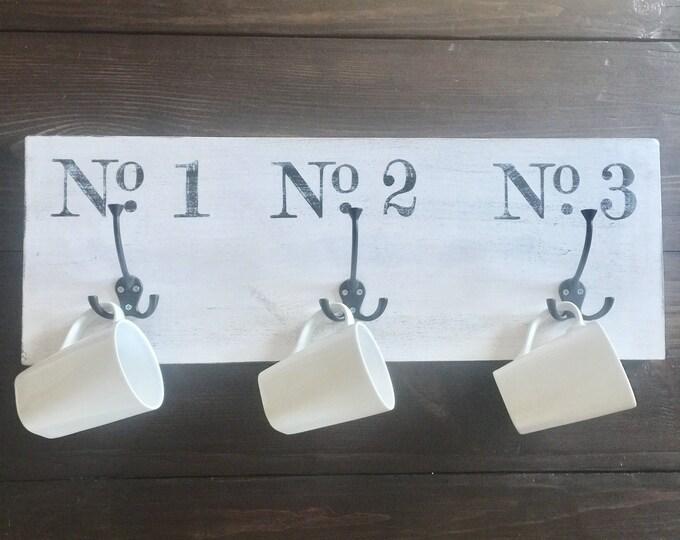 Vintage Numbered Coat Towel Mug Hooks