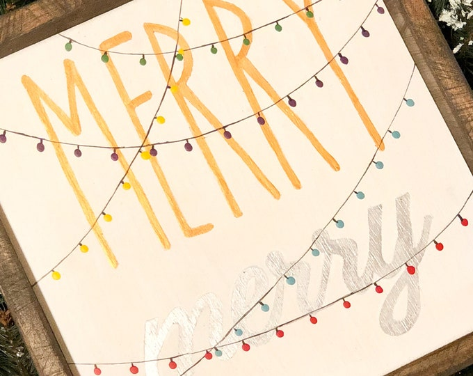 Merry Merry Sign. Teacher Gift. Farmhouse Christmas. Rustic Holiday Signs. Vintage Holiday Sign. Holiday. Christmas Signs. Holiday Decor.