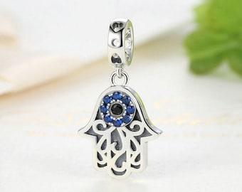 3292f70f8 Sterling 925 silver charm blue evil eye bead pendant fits Pandora charm and  European charm bracelet
