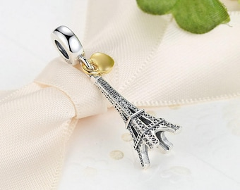 34e142f5b Sterling 925 silver charm eiffel tower gold lock bead pendant fits Pandora  charm and European charm bracelet
