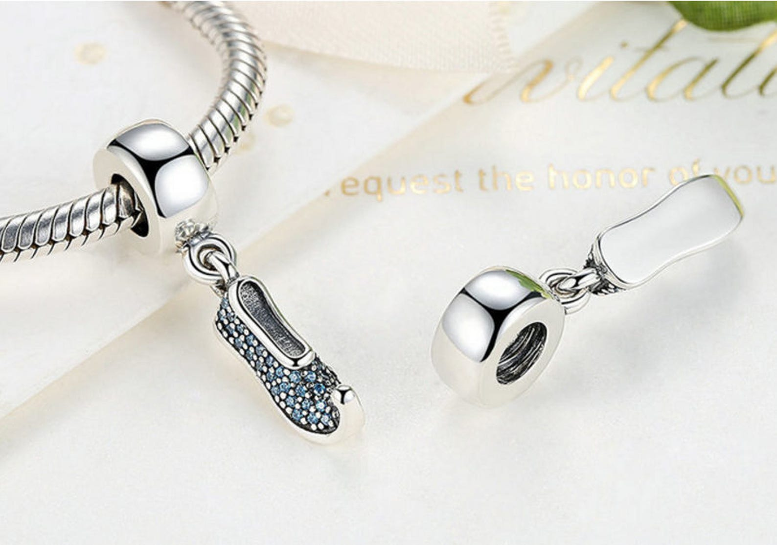 sterling 925 silver charm ballet shoes bead pendant fits pandora charm and european charm bracelet