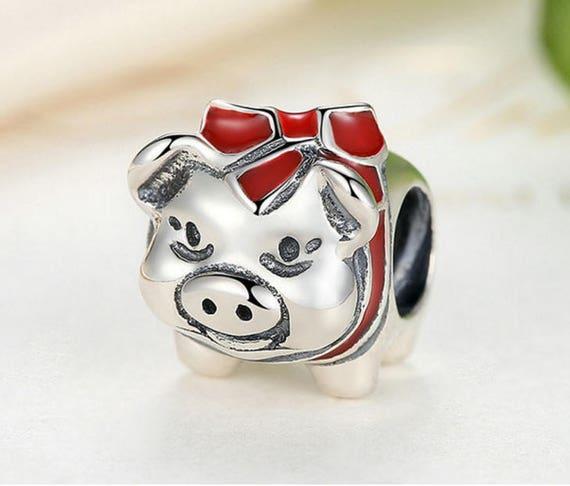 Vintage Cute Pig Bead Charm Sterling 925 CH 335