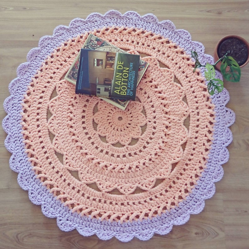 Crochet Floor Rug Nursery Rug Mandala Rug Round Crochet Rug Etsy