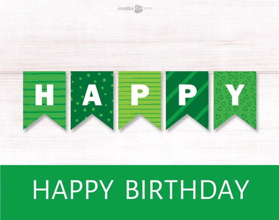 image relating to Printable Happy Birthday Banner called Inexperienced Content Birthday Printable Banner. Eco-friendly Bunting Flags. Inexperienced themed Wall decoration St Patricks birthday Environmentally friendly Birthday decor