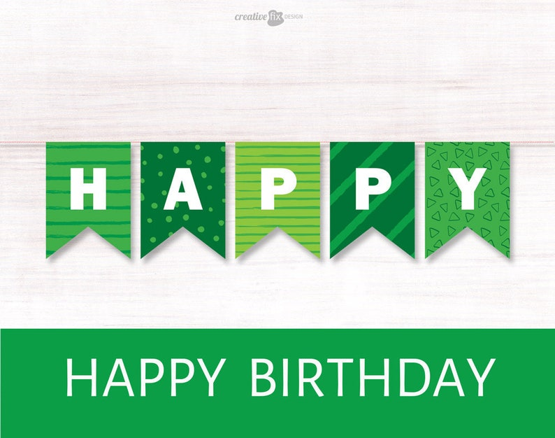 photograph regarding Happy Birthday Printable Banner referred to as Environmentally friendly Joyful Birthday Printable Banner. Eco-friendly Bunting Flags. Inexperienced themed Wall decoration St Patricks birthday Environmentally friendly Birthday decor