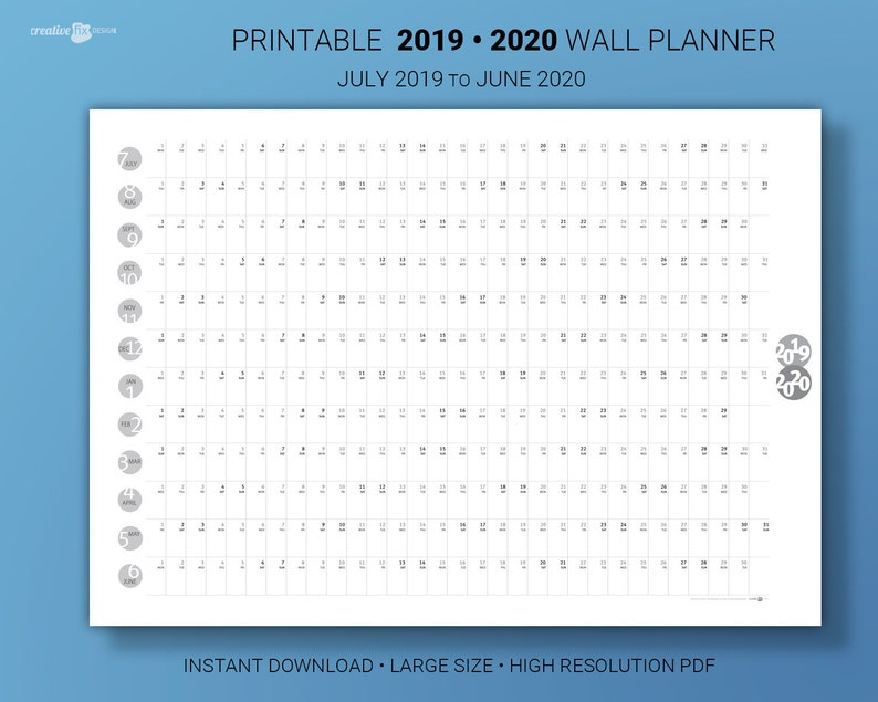 June 2019 To June 2020 Calendar Printable.Wall Planner July 2019 To June 2020 Midyear Large Calendar Printable Wall Planner