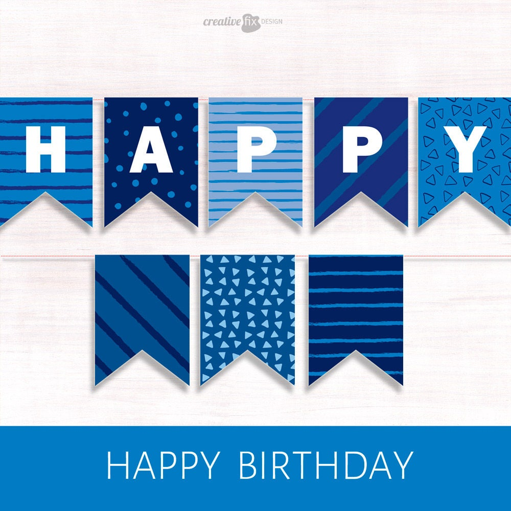 Happy Birthday Banner. BLUE PRINTABLE Banner. BLUE Happy