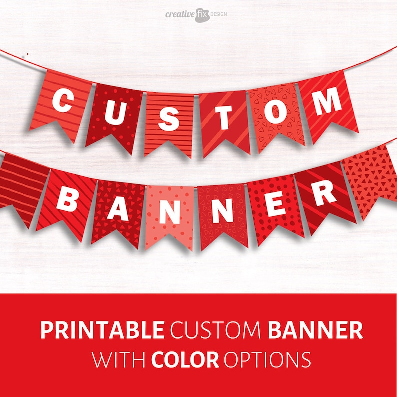 10e22f5439ae CUSTOM Printable Banner. Name bunting Farewell flags Birthday name Baby  Shower Vows of love Bon voyage Party decoration Custom color banner