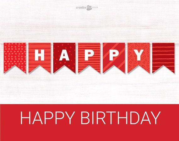 Happy Birthday Bunting RED Birthday Party Birthday Banner Etsy