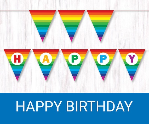 image about Printable Birthday Banner known as Rainbow Delighted Birthday banner. Printable Rainbow Bunting. Rainbow celebration decor. Rainbow birthday flags.
