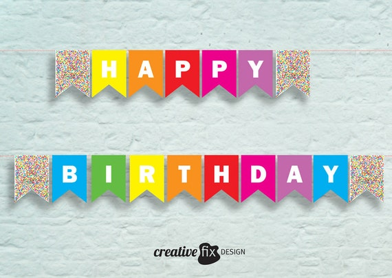 Confetti Birthday Banner Printable Happy Wall Decor