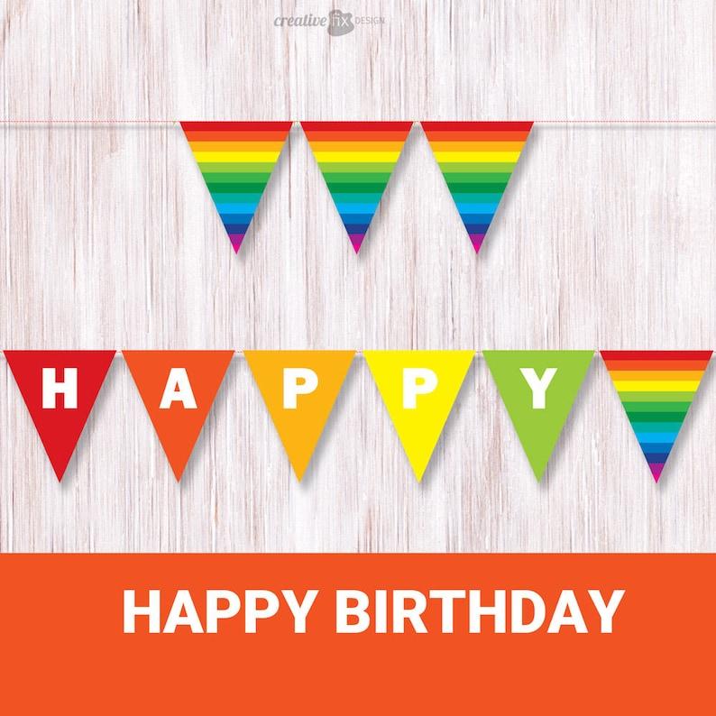 image about Happy Birthday Banner Printable named Joyful Birthday Rainbow Banner. Printable Rainbow Bunting. Vibrant bash decor. Rainbow birthday flags.