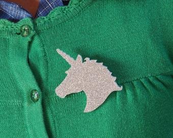 Sparkle Silver Unicorn Brooch, Silver Glitter Unicorn Brooch Badge, Magical Unicorn Pin, Sparkle Unicorn Jewellery, Fantasy Gift for Her