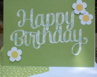 Green Birthday Card with White Daisies