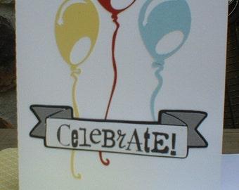 Balloon Banner Celebrate Greeting Card