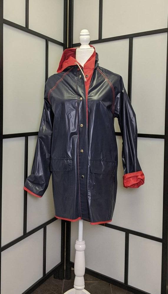 Vintage Lacoste Izod Vinyl Reversible Rain Coat R… - image 3