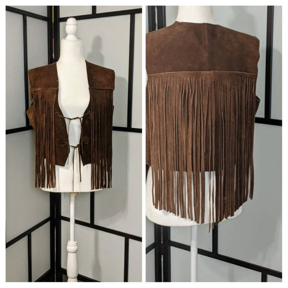 Vintage Brown Suede Leather Fringe Vest Brown Sued