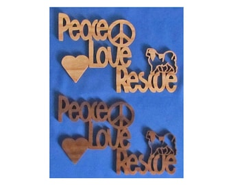 Peace, Love, Rescue - Japanese Chin - Hand Cut Wall Hanging - Available In 2 Different Woods - Donation to JCCARE