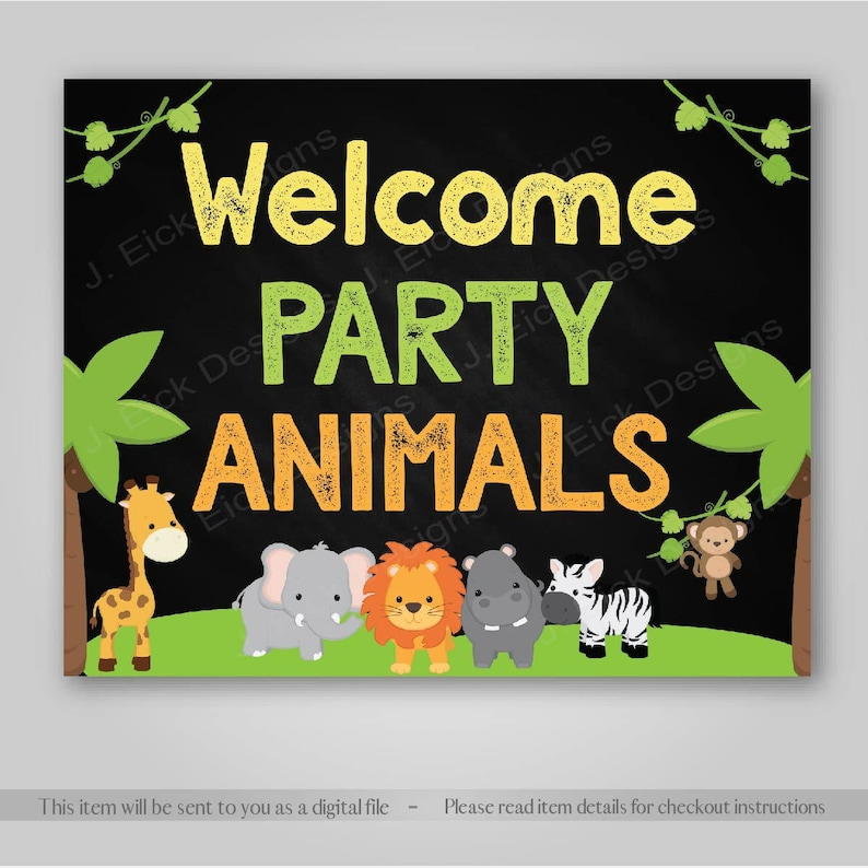 Jungle Safari Birthday Party Sign Safari Birthday Party Etsy