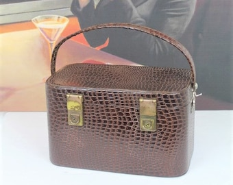 Vintage Vanity Case/Vintage Vanity Luggage/Vintage Brown Train Case (Ref1996J)
