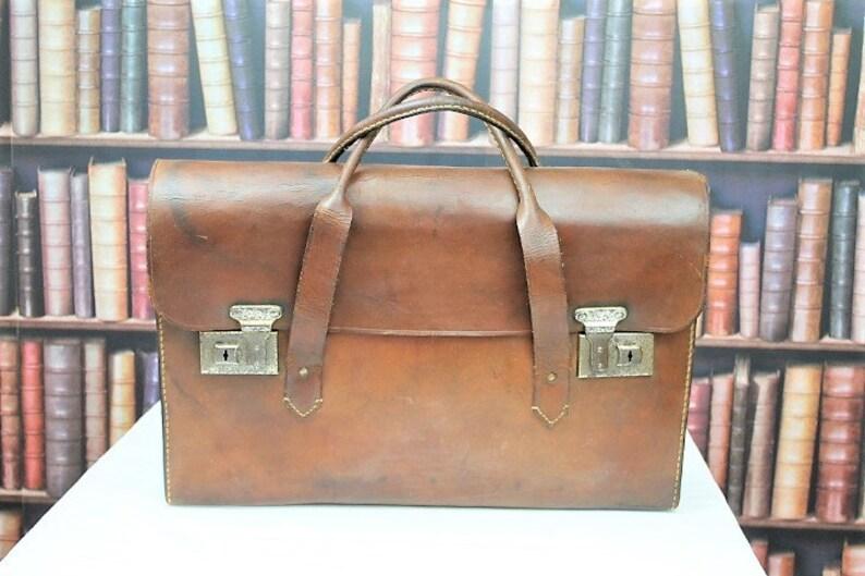 Vintage Leather Briefcase Vintage Leather Attache  3566bdcb8b7da