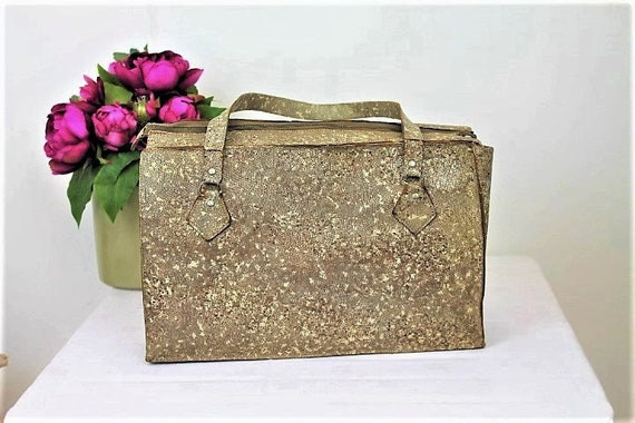 Vintage Snakeskin Handbag/Vintage 1940's Handbag/L