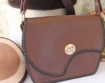 Vintage, 1950/60's Brown Leather Handbag/ Leather Satchel Bag/ Leather Handbag/ SALE