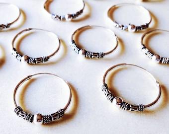 Bali Hoop Earrings • Tribal earrings • Silver Hoop Earrings • Large Hoop earrings • For Her • Boho earrings • Bead earrings • 20mm Hoops
