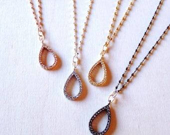 Pave Gold Tear Necklace