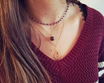 Amethyst Necklace - Gold Amethyst Necklace - February Birthstone -  Layering Amethyst Necklace - Gift For Her - Christmas Gift - Xmas gift