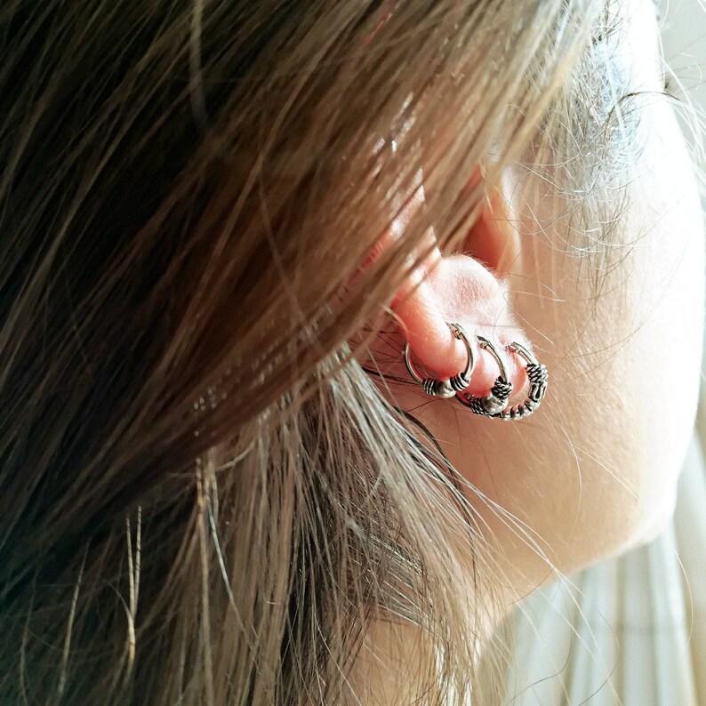 Single Hoop Earring. Earring for Second Hole. 10mm Silver  786c7a06d360