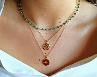 Emerald Jewelry - Emerald Necklace - Layering Emerald Necklace - Birthstone Necklace - Gold Emerald Jewelry - Gift For Her - Gift for wife