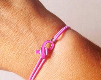 Breast Cancer Awareness Bracelet, Pink Ribbon Bracelet, Breast Cancer Survivor Jewelry, Pink Bracelet