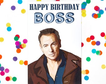 Boss Birthday Card Bruce Springsteen Funny 100 Recycled Paper