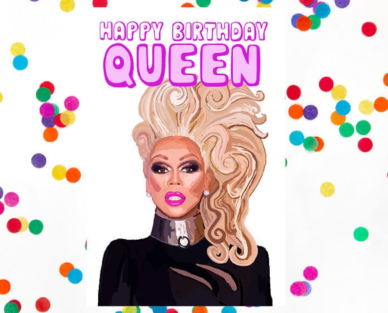 Birthday Card Rupaul Drag Queen Blank 100