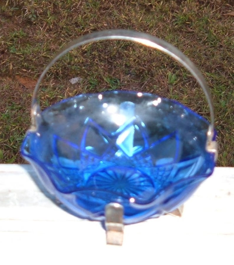 Blue  Candy Nut Dish and Holder-Jam or sugar  bowl 1960/'s decor