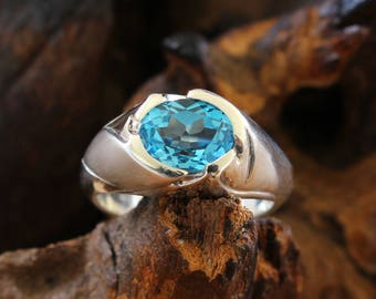 silver ring with blue topaz, silver ring blue, topaz,
