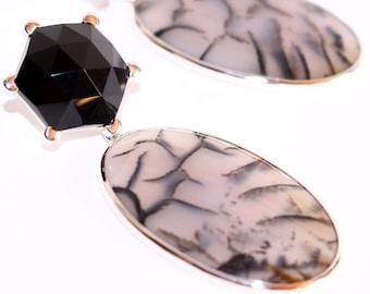 Onyx earrings, XXL earrings, Silver earrings with Onyx, MOSS agate