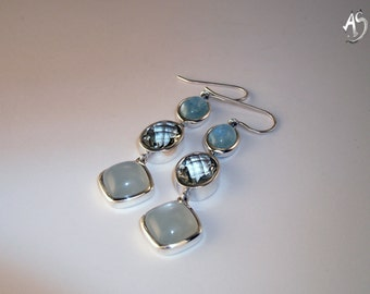 Silver Earrings Aquamarine, prasiolite, moonstone